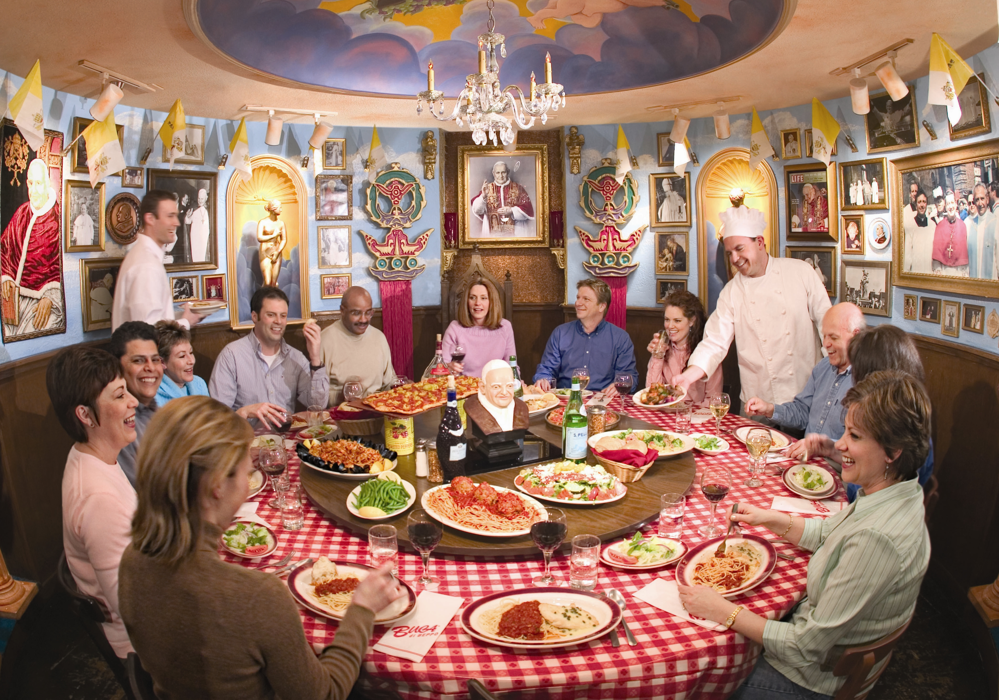 Know a good sf place with a big round table restaurants san francisco chowhound - Buca di beppo pope table ...
